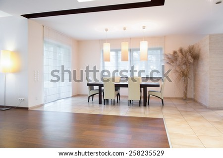 View of dining area inside spacious house
