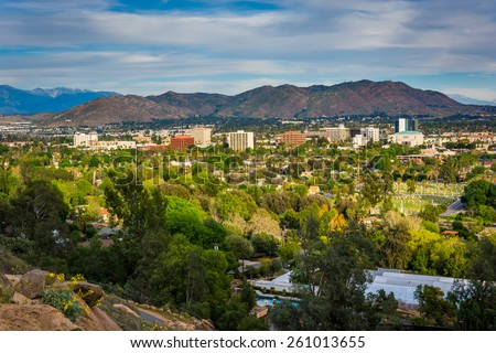 View of distant mountains and Riverside, from Mount Rubidoux Park, in Riverside, California. - stock photo