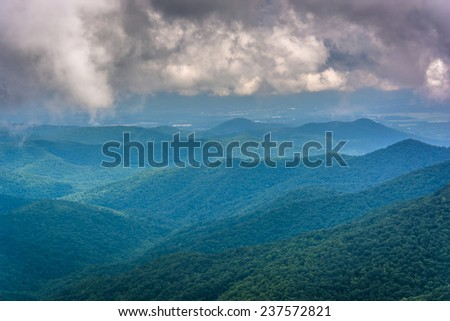 View of distant mountains from the Blue Ridge Parkway in North Carolina. - stock photo