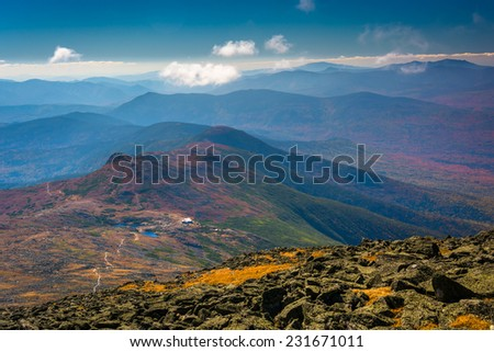 View of distant ridges of the White Mountains and Lakes of the Clouds from the summit of Mount Washington, New Hampshire.