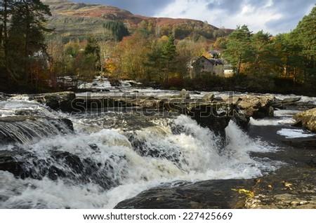 View of Dochart Falls - stock photo