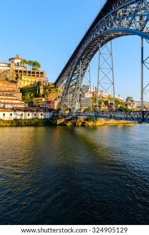 view of Dom Luis I bridge in Porto, Portugal - stock photo