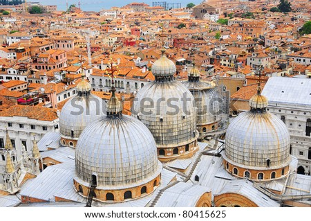 View of domes, San Marco Basilica in Venice The Patriarchal Cathedral Basilica of Saint Mark is the cathedral church of the Roman Catholic Archdiocese of Venice - stock photo