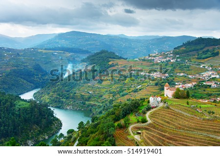 View of Douro river, wineyards and villages on a hills. Portugal