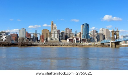 View of downtown Cincinnati, Ohio and the Ohio River.