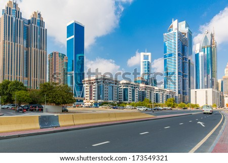 View of downtown Dubai clear day - stock photo
