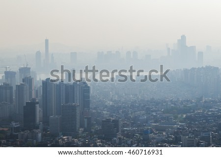 View of downtown in Seoul, South Korea, with serious air pollution.