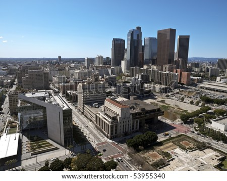 View of downtown Los Angeles on a smog free winter day. - stock photo
