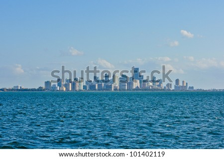View of downtown Miami and Richenbacher Causeway, from Biscayne Bay - stock photo