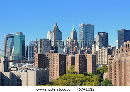 View of Downtown New York City viewed from the Lower East Side of Manhattan. - stock photo