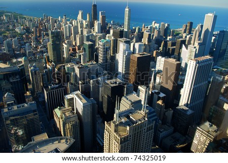 View of Downtown of the city of Chicago - stock photo