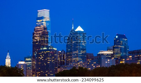 View of downtown Philly at night from The Rocky Steps at the Philadelphia Museum of Art,  Pennsylvania. - stock photo