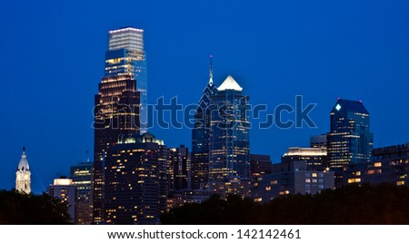 View of downtown Philly from The Rocky Steps at the Philadelphia Museum of Art,  Pennsylvania. - stock photo