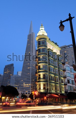 View of downtown San Francisco at night - stock photo