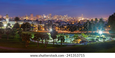 View of downtown San Francisco at night from Dolores Park in the Mission district.