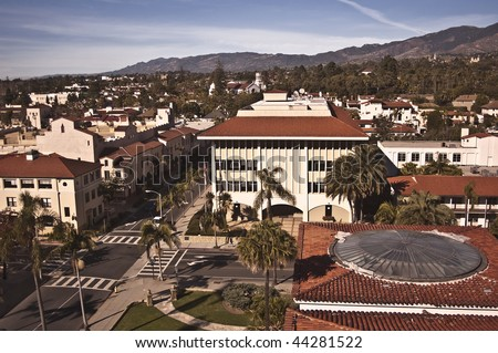 View of downtown Santa Barbara from atop the County Courthouse - stock photo