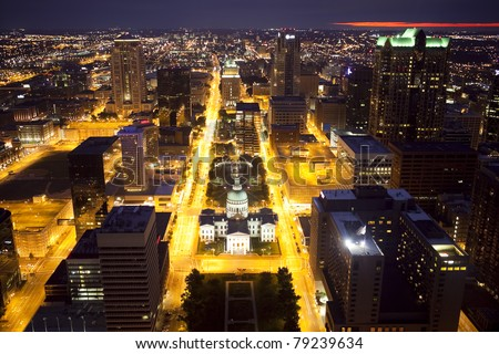 View of downtown St. Louis, Missouri from the Gateway Arch at night - stock photo