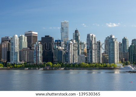 View of Downtown Vancouver from Stanley park - stock photo