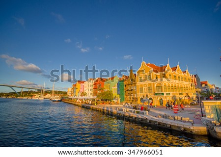 View of downtown Willemstad. Curacao, Netherlands Antilles - stock photo