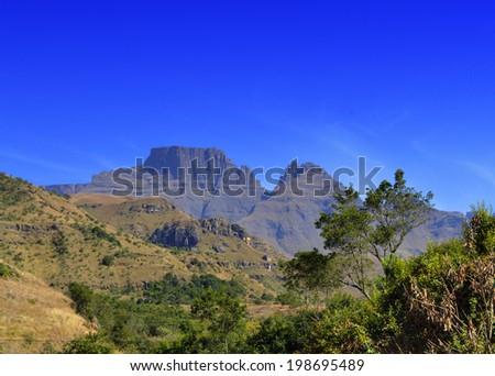 View of Drakensberg Mountain Peaks - stock photo