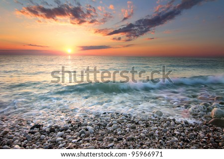 View of dramatic sea sunset, Lebanon - stock photo
