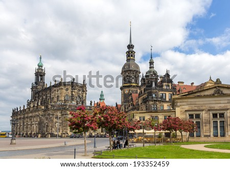 View of Dresden castle and Cathedral - Germany, Saxony - stock photo