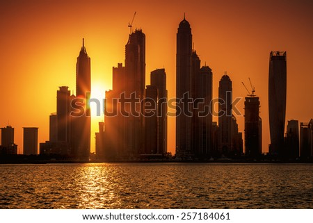 View of Dubai at sunrise, UAE. - stock photo