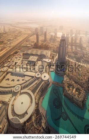 View of Dubai downtown from the top, Dubai, UAE - stock photo