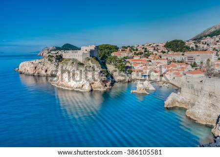 View of Dubrovnik from the surrounding hills, Croatia - stock photo