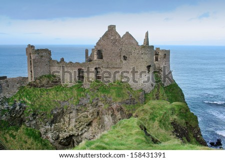 View of Dunluce castle in Northern Ireland - stock photo