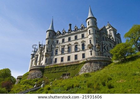 view of Dunrobin Castle in Scotland, UK - stock photo