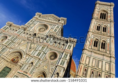 View of Duomo cathedral and Campanila tower in Florence, Italy