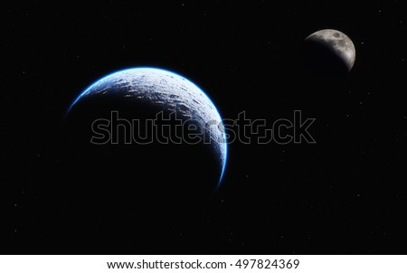 View of earth and moon from space. Distance between earth and moon. This is a 3d render illustration.
