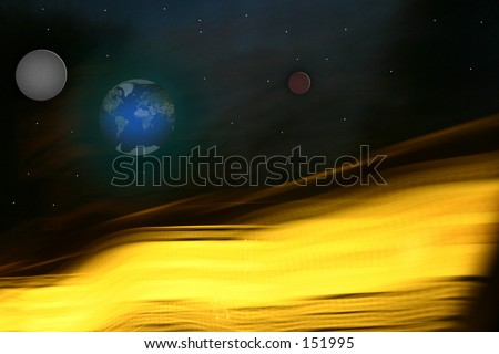 View of earth and other planets from the sun. - stock photo