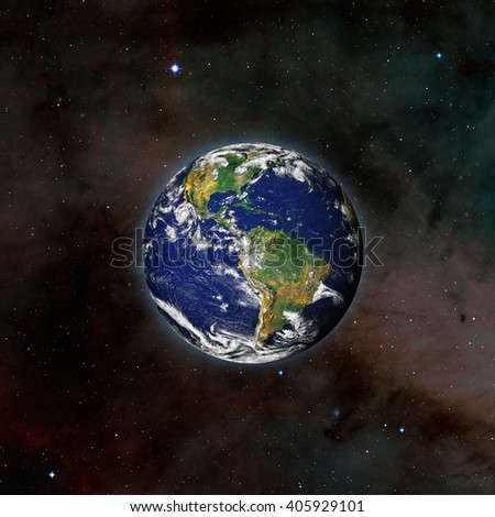 """view of Earth from outer space with millions of stars around it.""""Elements of this image furnished by NASA - stock photo"""