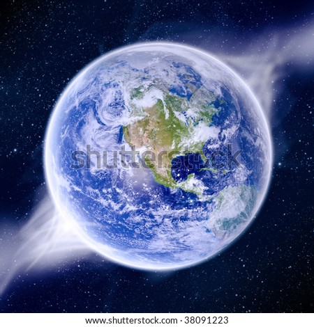 View of Earth from space with sunrising - stock photo