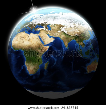 View of earth on black background. Elements of this image furnished by NASA - stock photo