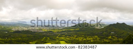 view of Eastern Oahu as seen from the Pali lookout - stock photo