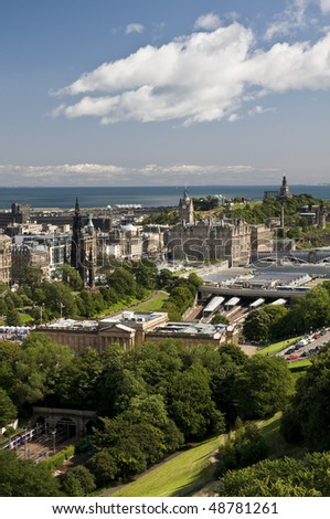 View of Edinburgh, capital of Scotland, on a sunny day - stock photo