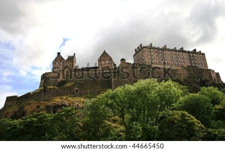 View of Edinburgh Castle from farmer's market - stock photo