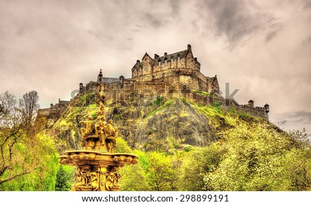 View of Edinburgh Castle in Scotland, Great Britain - stock photo
