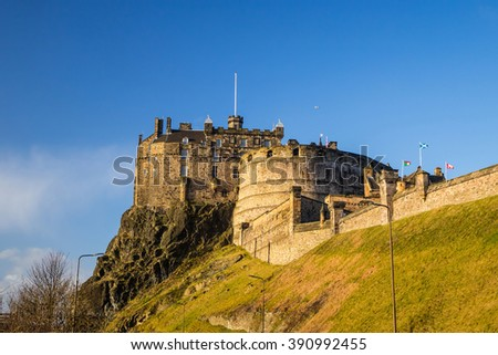 View of Edinburgh Castle in Scotland, UK - stock photo