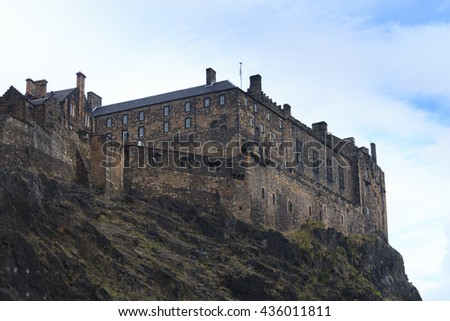 View of Edinburgh Castle, Scotland. European travel destinations - stock photo