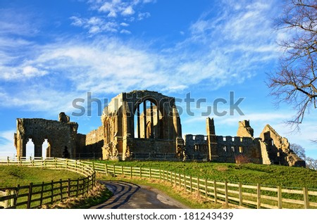 View of Egglestone Abbey, County Durham - stock photo