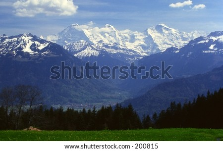 View of Eiger, Moench and Jungfrau in the Bernese Alps