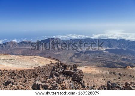 View of El Teide peak in Tenerife, Spein - stock photo