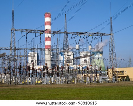view of electrical substation - stock photo