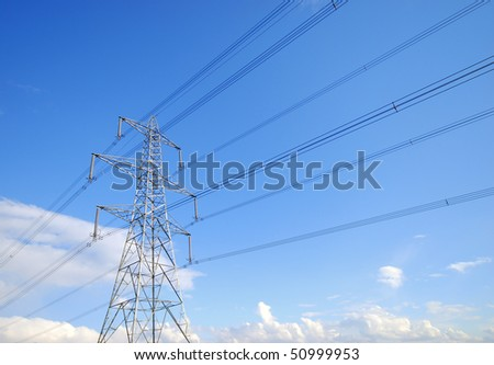 View of electricity pylon and power lines
