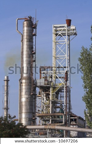 view of elements of chemical refinery