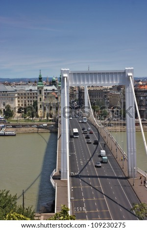 View of Elizabeth bridge in Budapest Hungary